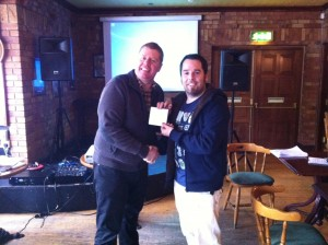 As Chairperson, I got to present Lorcan Duff with his prize for winning the individual quiz.